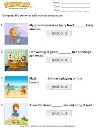 fill in the blanks using conjunctions but and worksheet turtle diary