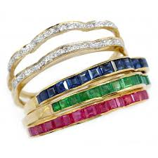 ruby emerald rings images 18k yellow gold emerald sapphire ruby and diamond stackable ring jpg