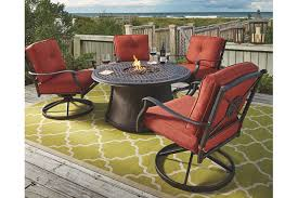 Firepit Patio Table by Burnella 5 Piece Outdoor Fire Pit Chat Set Ashley Furniture