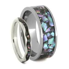 his and hers wedding bands sets abalone wedding band set in white gold and titanium matching ring set