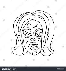 halloween stuff on black background zombie line art hand drawn stock vector 310273424 shutterstock