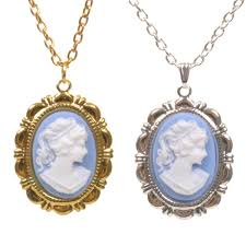 cameo necklace pendant images Blue lady cameo vintage style charm pendant necklace new victorian jpg