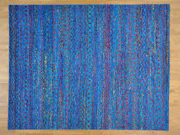 9 u0027 x 11 5 u0027 modern sari silk multicolored oriental rug hand knotted