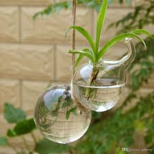 Set Of 2 Hanging Gourd Shape Glass Vase Flower Plant Pot Container