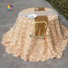 pink rosette table runner danming textile factory sale sequin embroidered table runner