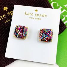 glitter stud earrings 34 kate spade jewelry nwt kate spade multi glitter square