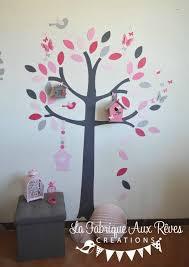 stickers arbre chambre fille stickers arbre nichoirs papillons et oiseaux poudré