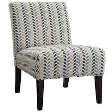 Armless Accent Chair Coaster Company Blue And Beige Leaf Pattern Armless Accent Chair