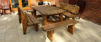 rustic outdoor picnic tables wood garden table image of cozy teak wood furniture solid wood 2 in