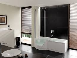 minimalist nathroom with white tub surrounding at brown ceramic