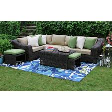 Curved Wicker Patio Furniture - hampton bay maldives brown wicker patio sectional set with