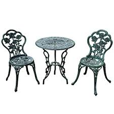 wrought iron bistro table and chair set amazon com outsunny 3 piece outdoor cast iron patio furniture
