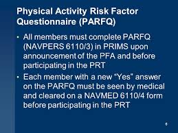 new prt standards medical screening and waivers for the physical readiness program