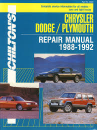 1988 dodge cer chilton s chrysler dodge plymouth repair manual 1988 1992 part no