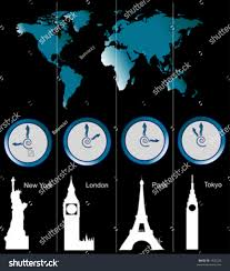 World Time Clock Map by Vector Image World Map Clocks Showing Stock Vector 1935235