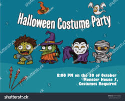 halloween cute monsters costume party poster stock vector