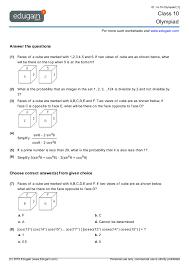 grade 10 olympiad printable worksheets online practice online