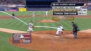 yankees aaron hicks throws ball 105 5 mph new york yankees