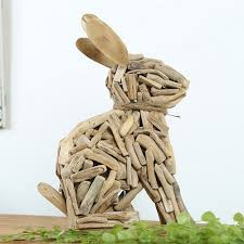 rabbit home decor wooden home decor office decor cute rabbit very creative ornament