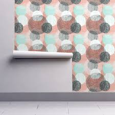mandalas in mint coral black and wallpaper by friztin roostery