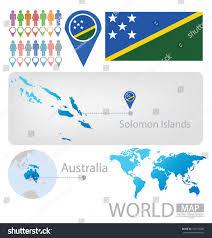 Solomon Islands Map Solomon Islands Australia Flag World Map Stock Vector 152172206