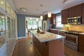 Kitchen Marble Top Modern Brown Color Galley Kitchen With Rectangular Marble Top