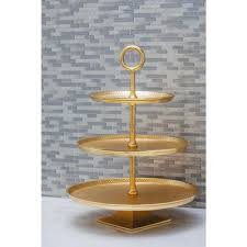 3 tier stand 3 tier modern aluminum cake stand in gold 53452 the home depot