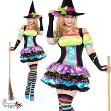 halloween witches costume womens adults rainbow pop neon witch halloween fancy dress costume