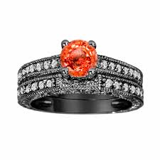 black wedding band sets orange sapphire and diamonds engagement ring and wedding band sets