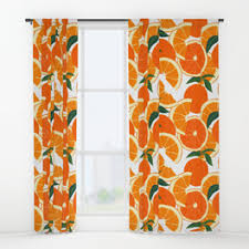 Orange And White Curtains Citrus Window Curtains Society6