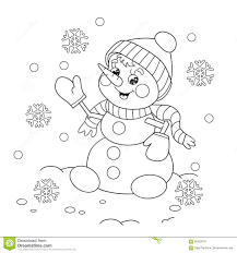 coloring page outline of cartoon snowman stock vector image