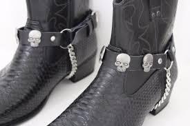 men women black faux leather boots chains strap western shoe