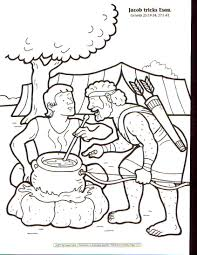 jacob tricks esau bible story and coloring page