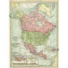 Map North America Hammond U0027s Vintage Map Of North America 1904