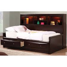 dark brown wooden bed frame with rack headboard and double storage