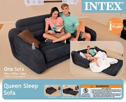 intex inflatable queen size pull out sofa couch bed dark gray