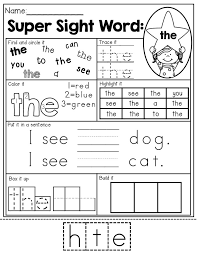 ideas about sight words for kindergarten printable worksheets