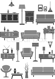 home furniture and items home and room furniture icons isolated set of chair or armchair