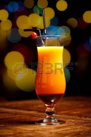 two fruity cocktail drinks served on table stock photo picture