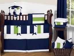 Navy Crib Bedding Navy Blue And Lime Green Stripe Baby Bedding 9pc Crib Set By