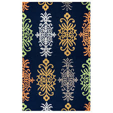 Outdoors Rugs by Rizzy Home Azzura Hill Navy Medallion 3 Ft 6 In X 5 Ft 6 In