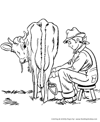 farm chores coloring pages boy milking coloring
