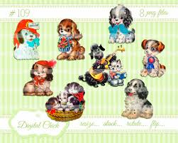 vintage puppy clipart instant digital download puppies puppy dog