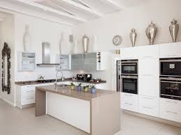 high gloss white with mocha caesarstone tops contemporary