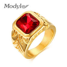 men rings prices images Modyle men rings gold color big red stone rings for men jewelry jpg