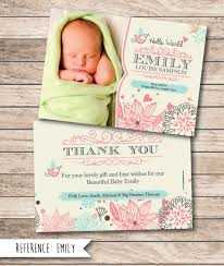 baby thank you cards birth announcement baby thank you card printable file