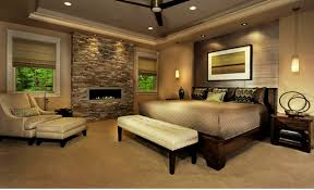 fascinating moder luxury bedroom with fire place image design