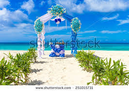 Wedding Arches Beach Beautiful Wedding Arch Cabana On Sand Stock Photo 244955182