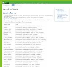 the sims 4 vampires cheat sheet master list by twistedmexi simsvip