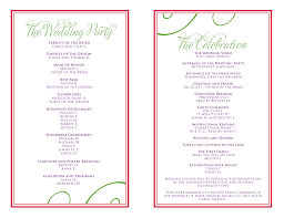 wedding reception programs wedding itinerary templates free wedding reception programs
